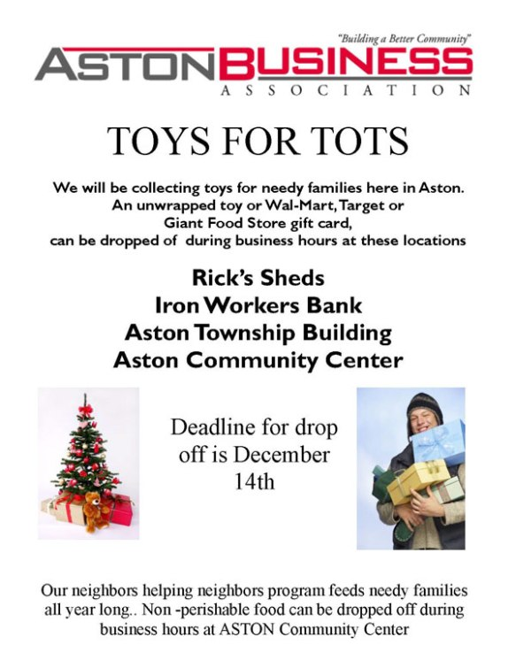 click below for details toys for tots aston business association image - Giant Christmas Hours