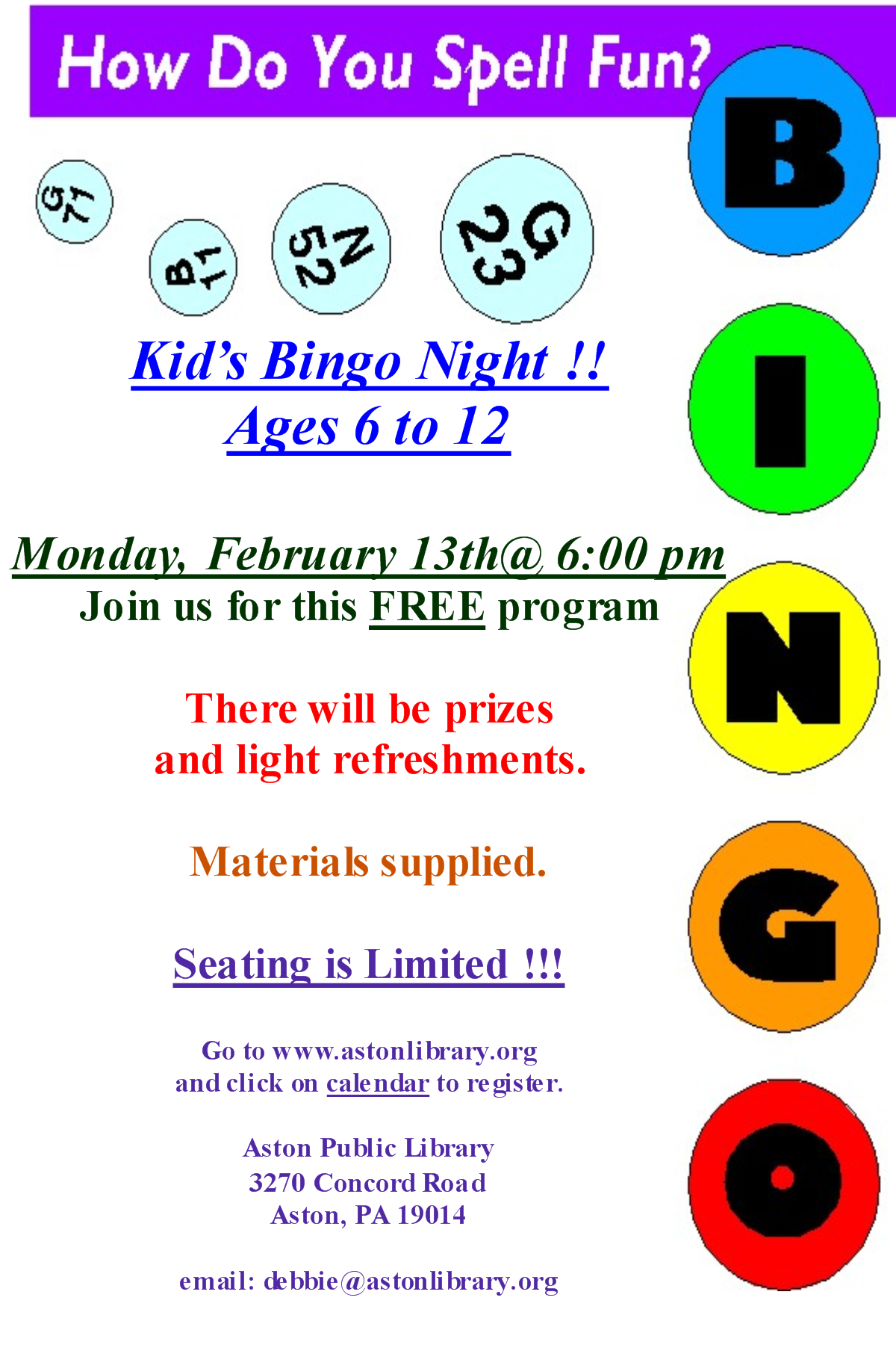 kids u2019 bingo night coming up